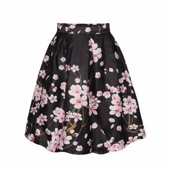 Harga Women Vintage Floral Stretch Skater High Waist Flared Pleated Swing A-line Midi Skirt - intl