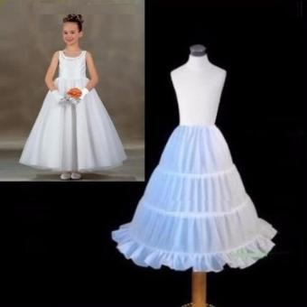 Harga Children Kids Girl 3-HOOP A-line Wedding Ball Gown Crinoline Petticoat Skirt Slips Underskirt White - intl