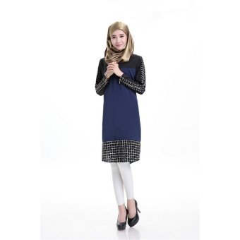 Plaid Splicing Zipper Decor Muslim Midi Dress (Navy blue) (Intl) Price Philippines