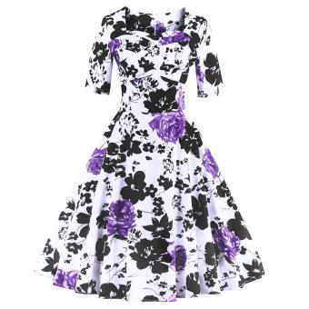 Zaful Women Floral Print A-Line Dress Vintage Sweetheart Neckline Ruffles Design (Purple) - intl Price Philippines