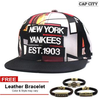Harga Cap City Unisex Hip-hop NY Yankees est 1903 Snapback Multicolored (Red) with Free Leather Bracelet