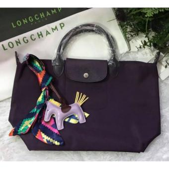 Harga Longchamp Le Pliage Neo Medium Free Twilly & Charm Original (BILBERRY) Made in France SHORT HANDLE