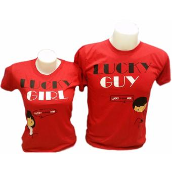 Lucky Guy/Lucky Girl Couple T-Shirt (Red) Price Philippines