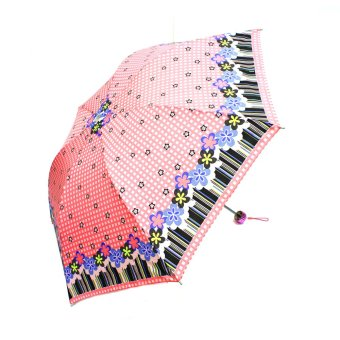 Harga London Fashion Lovely Flower Design Three Fold Compact Umbrella (Pink)
