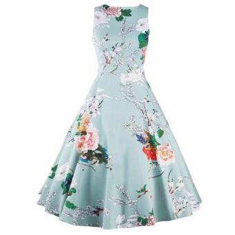 Harga Women Dress RetroFloral Swing Summer Dresses Elegant Bow-knot Tunic - intl