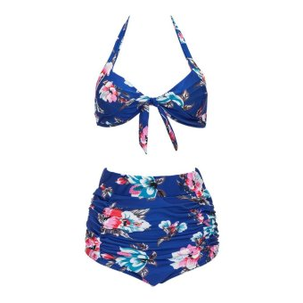 Harga Women Bikini Set Push-Up Bra High Waist Swimsuit Plus Size (Blue) - intl