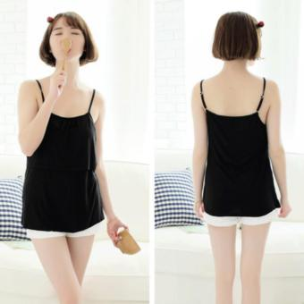 Harga Maternity Women Nursing Camisole Padded Breastfeeding Tops Casual Summer Tank Top Vest Pregnant Strap Tops (Black) - intl