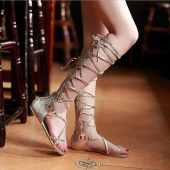 Harga Fashion Women Flat Cut Out Lace Up Knee High Gladiator Sandals Boots Shoes Size HIGH BARREL GOLD - intl