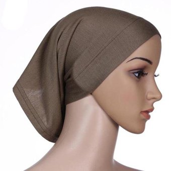 Amart Women Muslim Hat Cotton Under Scarf Bonnet Neck Cover(Dark Brown) - intl Price Philippines