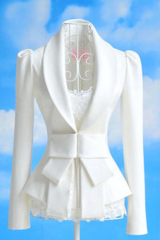 Harga Toprank Women Big Bowknot Jackets Ladies Career OL Slim Suit Coats Casual Female S, M, L And Xl ( White )