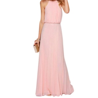 Harga Amart Women Summer Beach Chiffon Sexy Off Shoulder Maxi Dress Long Pleated Dresses For Evening Party - intl