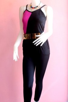 Harga Azalea Jumpsuit (Black and Magenta)