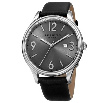 Harga Akribos XXIV Element Men's Black Leather Strap Watch AK869SS