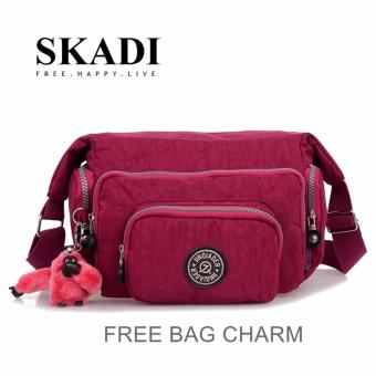 Harga Skadi JQE-1060 Korean Fashion Bag Nylon Waterproof Multi-pocket Mini Bag Crossbody Shoulder Sling Bag Best Gift With Free Bag Charm(Royal Red)