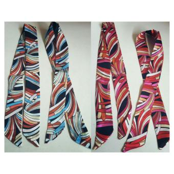 Jessica Silk Twilly Bag Scarf Set Of 2 (Brown/Blue,Pink/Black) Price Philippines