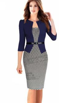 Harga Spring women's seven-point sleeves dress plaid pencil skirt - intl