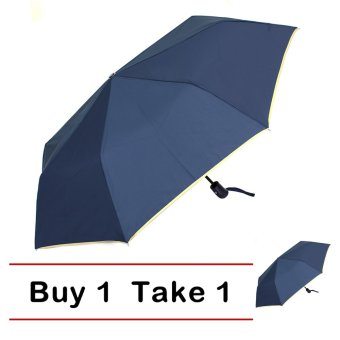 Harga London Fashion SPhil Plain Windproof Automatic Compact Umbrella (Navy Blue)BUY 1 TAKE 1