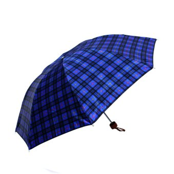 Harga London Fashion Chekerd Design Three Fold Compact Umbrella (Blue Red Yellow)