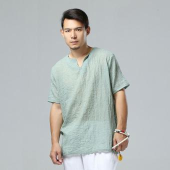 Harga Men's V Neck Cotton Linen T-shirt Summer Short Sleeve Tops Tee Blouse Green - intl