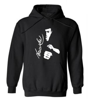 Harga Men autumn Winter Star Bruce Lee Image Printed Cotton and Cashmere Casua hoodies(black)