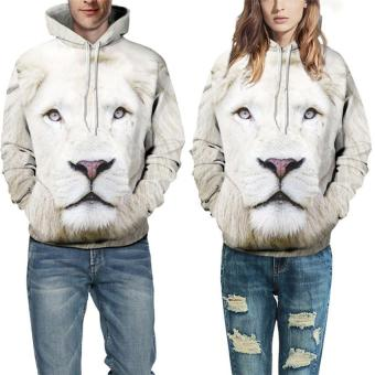 Harga 2017 High Quality Hoodies Sweatshirts 3D Printed Lion Head Women Men Sportswear Casual Hoodie Pullover S(white) - intl