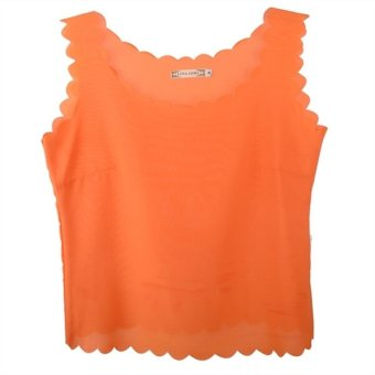 Harga C149 New Fashion Solid Summer Women's Sleeveless Top Blouse Shirt Vest Tops Orange - intl