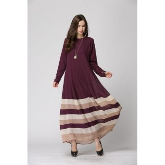 Mixing Color Striped Long Sleeve Muslim Maxi Dress (Coffee) (Intl) (Intl) Price Philippines
