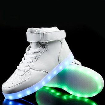 Harga LED light-emitting high-top shoe 36 (white) - intl