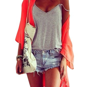 Harga Fashion Women Summer Vest Tops Sleeveless Shirt Blouse Casual Tank Top T-Shirt Grey - intl