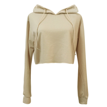 Harga Women Hoodie Sweatshirt Crop top Coat Sports Pullover Tops (Khaki)(M) - intl