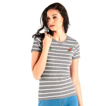 Harga OXYGEN Striped Tee with Print (Gray)