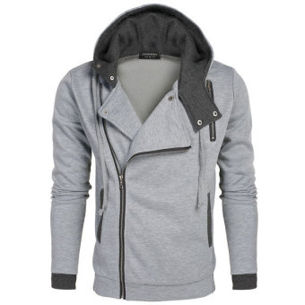 Harga Astar COOFANDY Men Fashion Casual Zipper Hooded Slim Hoodie Coat(Gray)