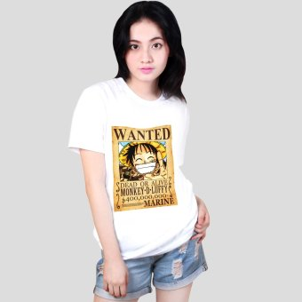 Anime One Piece Mugiwara Monkey D. Luffy Wanted Poster Cool Cotton Slim Tops Printed Unisex Tee Shirts (White) Price Philippines