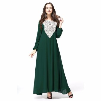 Kaftan Jilbab Islamic Abaya Muslim Dress (Green) - Intl Price Philippines