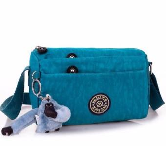 Harga Skadi JQE-612 Korean Fashion Bag Nylon Waterproof Mini Size Multi-pocket Mini Bag Crossbody Shoulder Sling Bag Best Gift With Free Bag Charm(Aqua Blue)