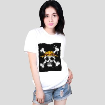 Anime One Piece Straw Hat Pirates Logo Cool Cotton Slim Tops Printed Unisex Tee Shirts (White) Price Philippines