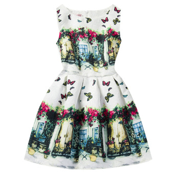 Girls Summer Style Sleeveless Butterfly Printed Dress Price Philippines