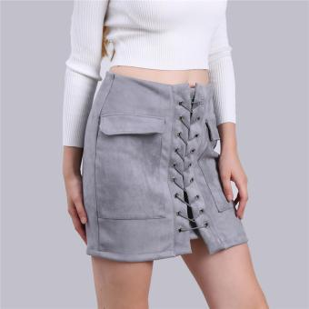 Harga LALANG Lace Up Women Skirt Suede Leather High Waist Casual Mini (Grey) - intl