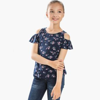 Little Miss Girls Roses Cold-shoulder Top (Navy Blue) Price Philippines