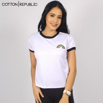 Harga Cotton Republic POSH Crop/Sexy Top Patched Design - Rainbow (White)
