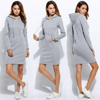Jo.In Women Fashion Slim Hooded Long Sleeve Solid Pencil Hoodie Dress - intl Price Philippines