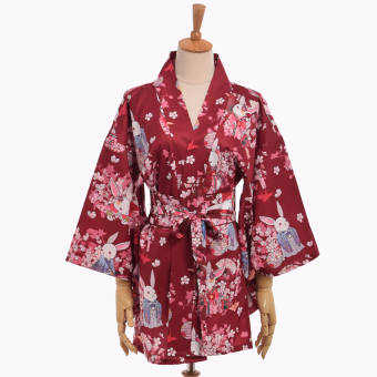 Harga Women's Kimono Nightgown Robe Sleepwear (Red) - intl