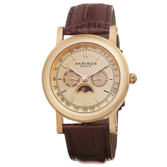 Harga Akribos XXIV Men's Brown Leather Strap Watch AK632YG