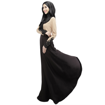 Cocotina Muslimah Maxi Dress Lace Spliced Long Sleeve Ethnic Muslim Wear (Black) Price Philippines