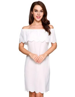 Off The Shoulder Ruffles Solid Sheath Dress ( White ) - intl Price Philippines