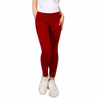 Harga Cotton Republic Modern Fashionable Plain Leggings (Red)