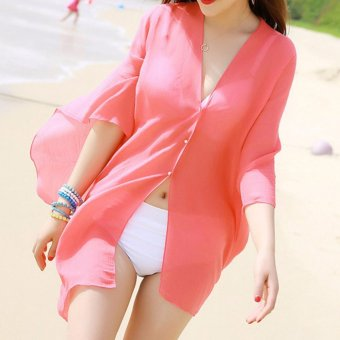2017 Women Sexy Swimsuit Bathing Suit Beach Wear Cover Up (Peach) Price Philippines
