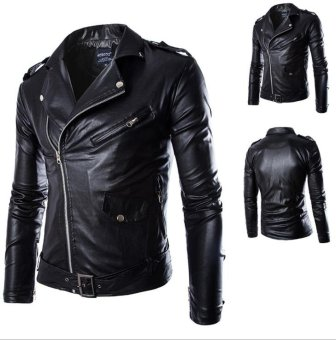 Harga JOOX Men's Slim Fit PU Leather Motorcycle Rider Bomber Jacket