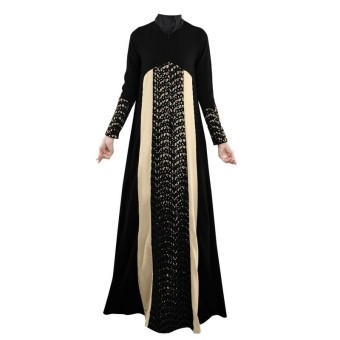 Crochet Lace Contrast Abaya Muslim Maxi Dress (Black) (Intl) Price Philippines