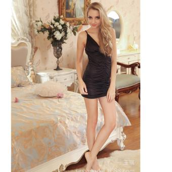 Harga Skadi Hot Girl H-107 Women Girlfriend Wife Sweet Romantic Sexy Lady Lingerie Baby Doll Dress See-through Lace Sleepwear Night Gown Wedding Birthday Gift(Black)FREE Mini Make Up Mirror